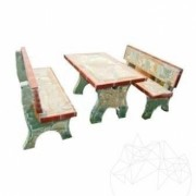 Garden furniture (table + 2 banks) - Particle polygonal stone